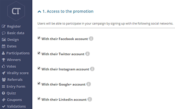 Choose the social networks through which users can access your competition