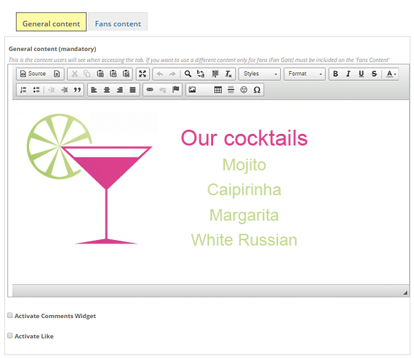 A tab specially designed by you with our content editor