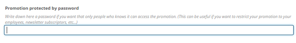 Promotion protected by password