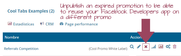 Unpublish an expired promotion to be able to reuse your Facebook Developers app on a different promo