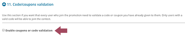 Enable coupons or code validation