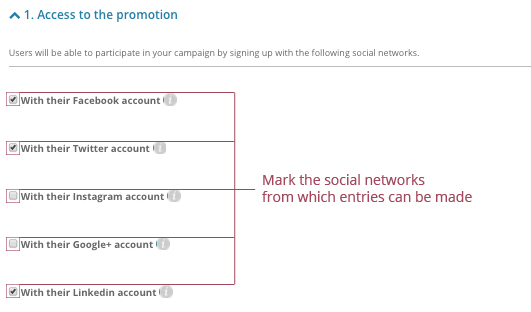 o	Mark the social networks from which entries can be made