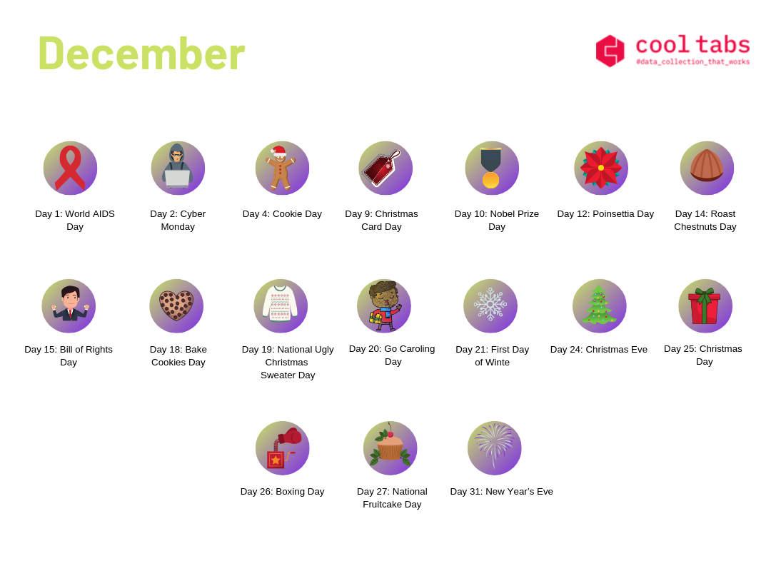 social media calendar December