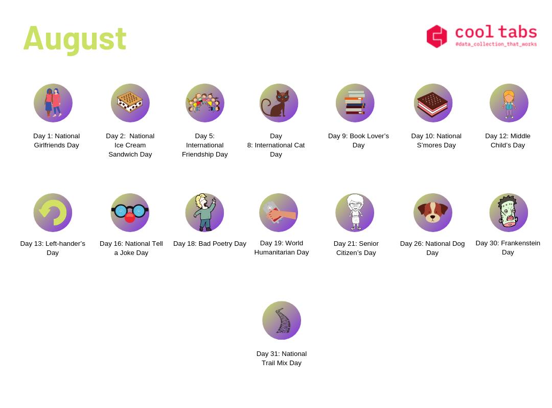 Social Media calendar August