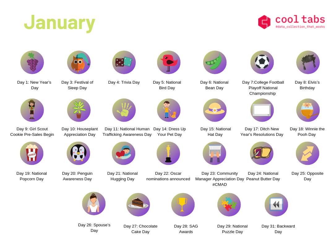 Social Media Calendar January