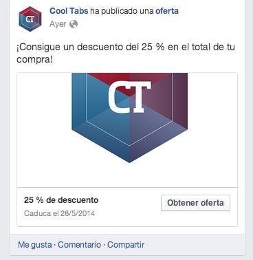 Previsualización de una oferta en Facebook