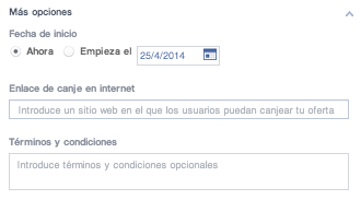 Oferta de Facebook: Más opciones