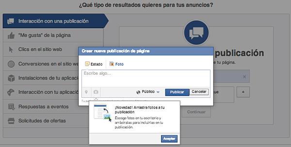 Nueva publicación para promocionar en Facebook Ads