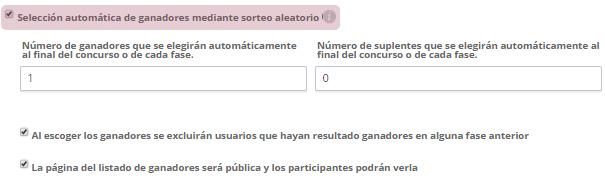 Selección automática de ganadores mediante sorteo aleatorio
