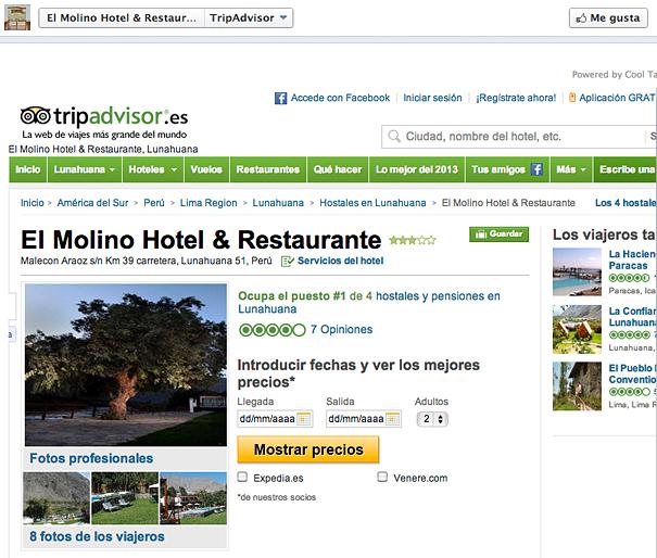Ejemplo de web externa con TripAdvisor
