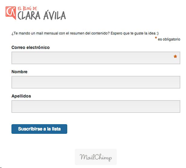 Formulario suscripción newsletter facilitado por tu proveedor de envío de news