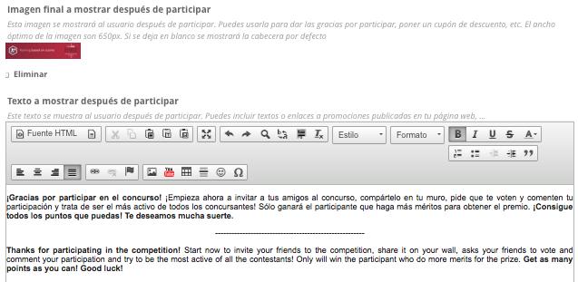 Texto e imagen a mostrar tras participar en un concurso con ranking por puntos