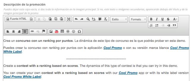 Descripción de un concurso con un ranking por puntos