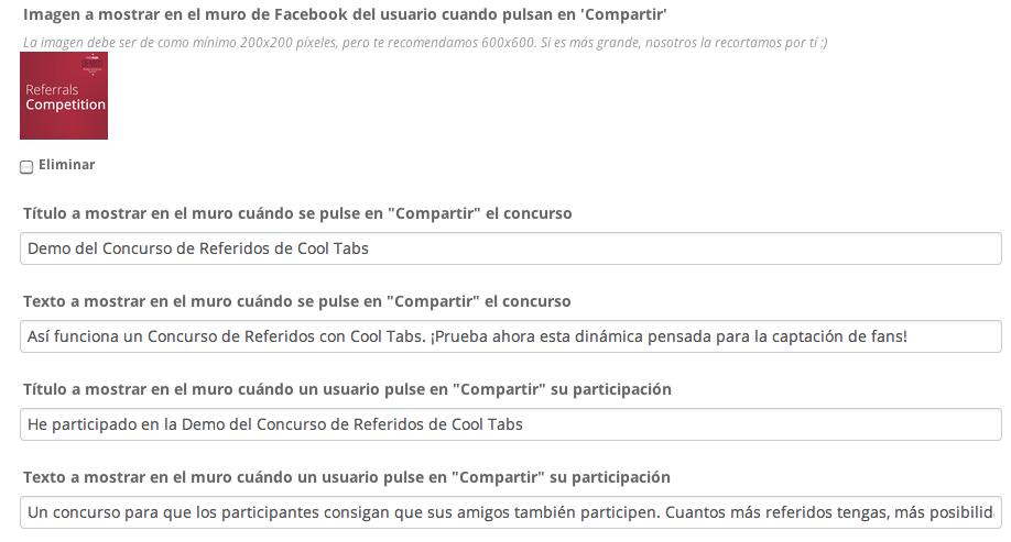 Título y texto a mostrar al compartir el concurso o la participación