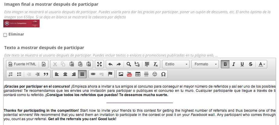 Configurar imagen y texto a mostrar a los fans tras su participación