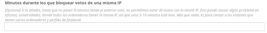 Tiempo durante el que no se puede votar desde una misma IP