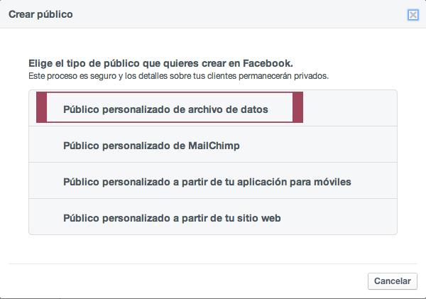 Público personalizado de archivo de datos