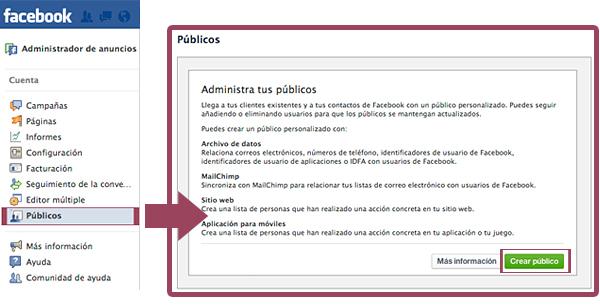 Crear público en Facebook Ads