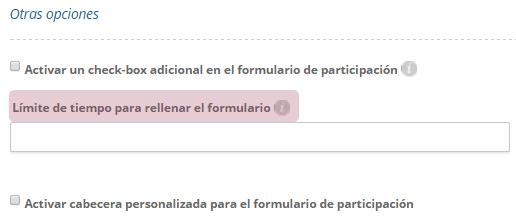 Límite de tiempo para rellenar el formulario