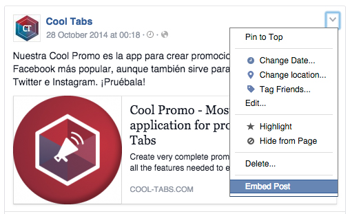 Inserta la publicación de Facebook sobre tu producto en tu web o blog