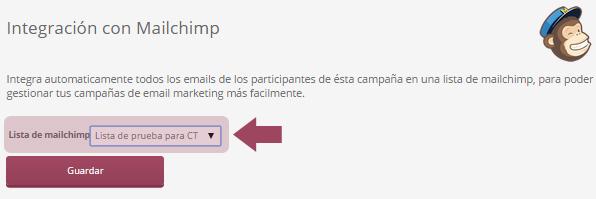 Elegir lista de MailChimp donde integrar el listado de participantes de la promoción