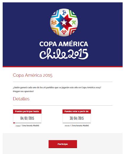 Página inicial de nuestra demo de Copa América