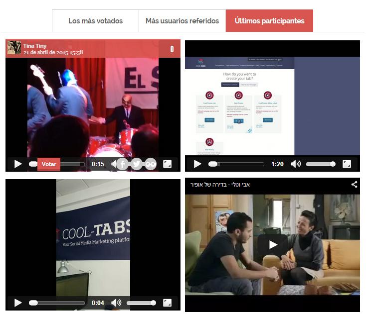 Galería de vídeos en el listado público de participantes