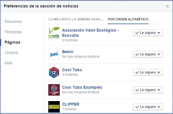 Ordenar las páginas y amigos de Facebook en orden alfabético