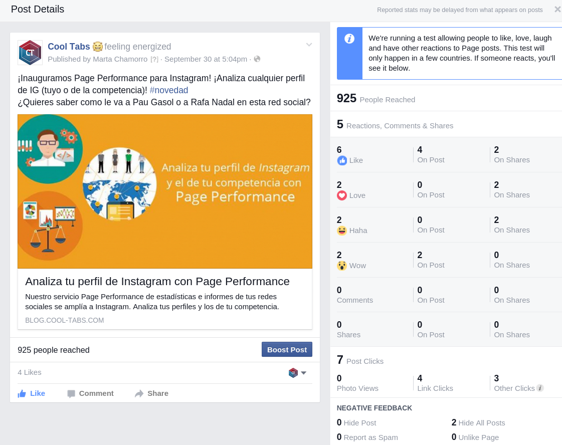 Recogida de 'Reactions' en Facebook Insights