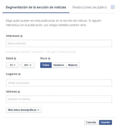 Segmentar las publicaciones de Facebook