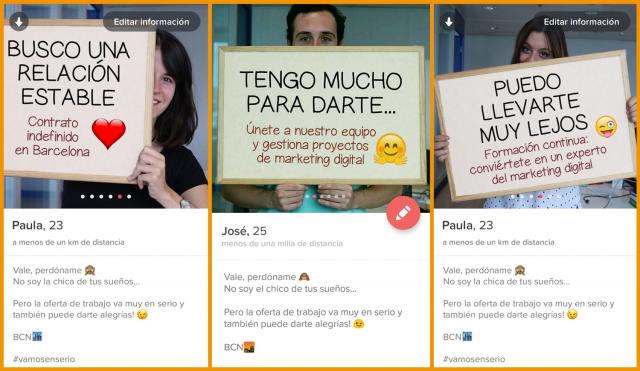 Campaña de marketing de InboundCycle: Buscar trabajo y ofertas de empleo en Tinder