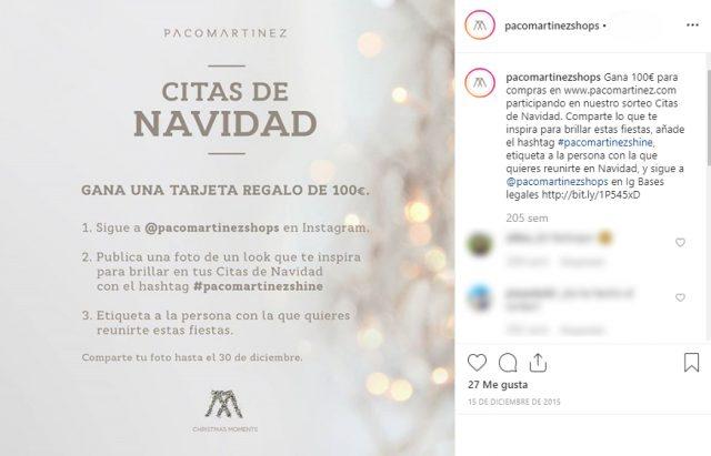 sorteos en Instagram Navidad